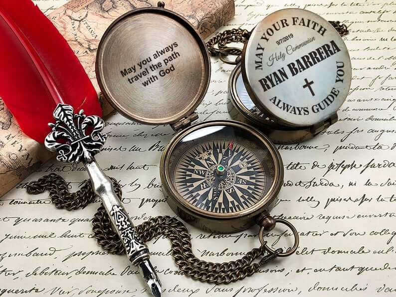 Compass - Holy First Communion - Personalized Baptism Gift - Confirmation Gift - Gift for Baby First Communion 6