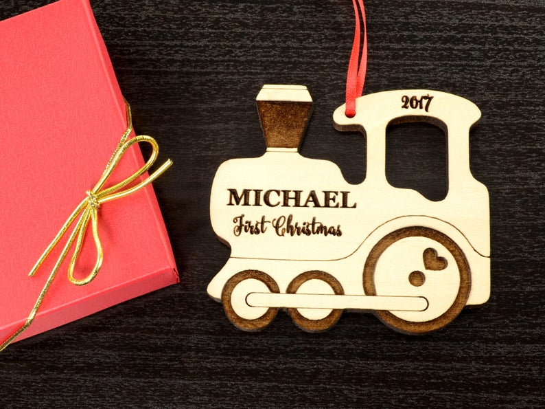 Personalized Christmas Ornament, Baby's Christmas Ornament, Wood Train, Custom Engraved Wooden Ornament, Personalized Baby's Christmas Gift 7
