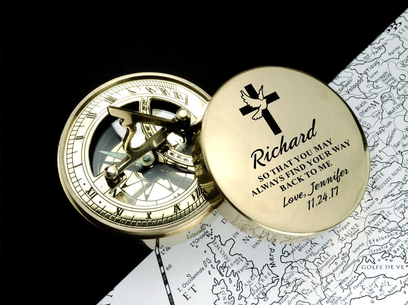 Compass, Baptism Gift, Christening Gift, Confirmation Gift, First Communion Gift, Godchild Gift, Personalized,Engraved compass,Gift for Baby 19