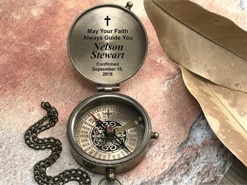 Compass, Christmas Gift, Godchild Gift, Goddaughter Gift, Godson Gift, Gift from Godparent, Personalized compass, First Holy Communion Gift 6