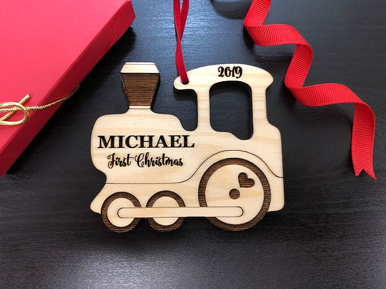 Personalized Christmas Ornament, Baby's Christmas Ornament, Wood Train, Custom Engraved Wooden Ornament, Personalized Baby's Christmas Gift 9