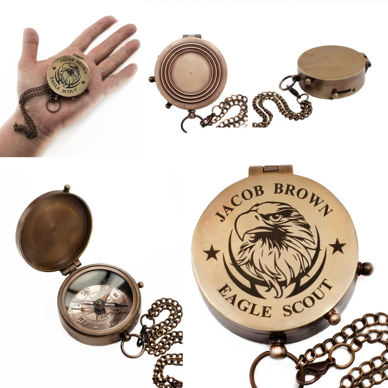 Personalized Eagle Scout, Boy Scout, Cub Scout Leader, Engraved Working Compass, Custom Engraved Compass, Handmade Brass Compass Custom gift 11