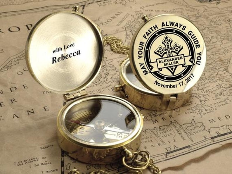 Personalized Compass - Custom Engraved Compass, First Holy Communion Gift. Baptism Gift. Confirmation Gift.Godchild Gift.Christmas Baby Gift 17