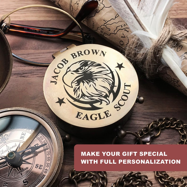 Personalized Eagle Scout, Boy Scout, Cub Scout Leader, Engraved Working Compass, Custom Engraved Compass, Handmade Brass Compass Custom gift 15