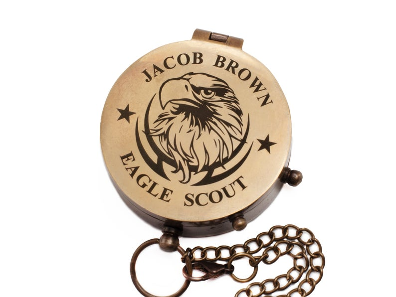 Personalized Eagle Scout, Boy Scout, Cub Scout Leader, Engraved Working Compass, Custom Engraved Compass, Handmade Brass Compass Custom gift 6