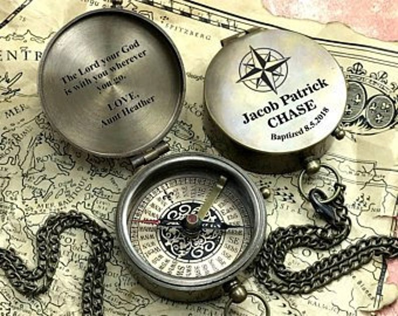 Personalized Compass - Custom Engraved Compass - Wedding Gift - Wedding Anniversary Gift - Working Compass - Christmas gift - Corporate Gift 23