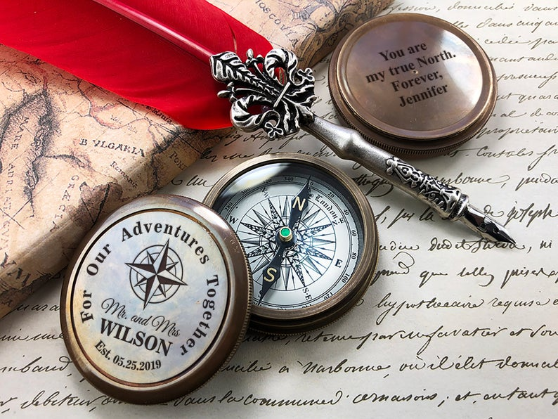 Personalized Compass - Gift for Groom from Bride on Wedding day - Gift for husband - Wedding Gift - Anniversary - Engagement Gift - Compass 4