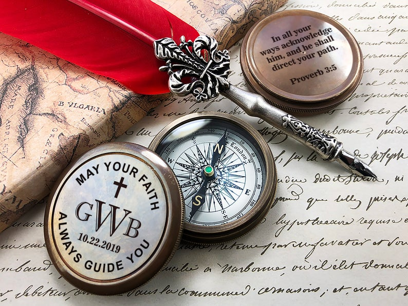 Personalized Compass, Custom Engraved Compass, Baptism Gift, Confirmation, Christening, Working Compass, First Holy Communion Gift, Keepsake 6