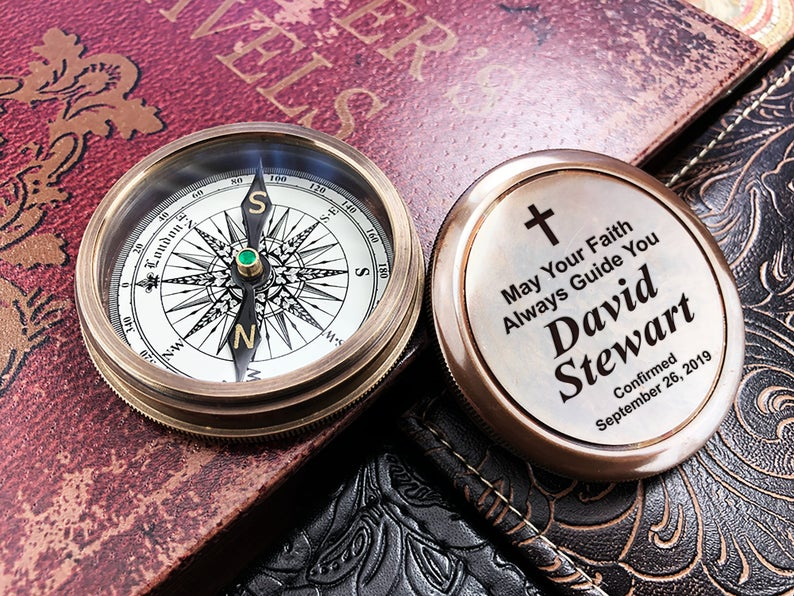 Compass, First Communion Gift, Godchild Gift, Goddaughter Gift, Godson Gift, Gift from Godparent, Personalized compass, First Holy Communion 6
