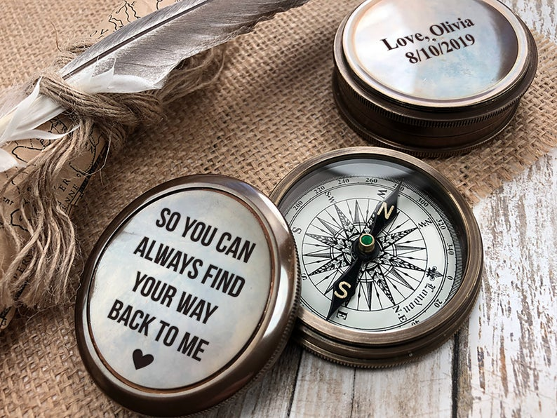 Personalized Compass, Custom Engraved Compass, Engagement, Wedding, Anniversary Gift, Working Compass, Boyfriend Gift, Unique Wedding Gift 15