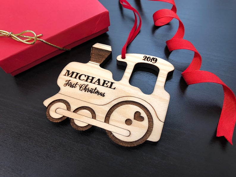Personalized Christmas Ornament, Baby's Christmas Ornament, Wood Train, Custom Engraved Wooden Ornament, Personalized Baby's Christmas Gift 19
