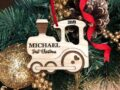 Personalized Christmas Ornament, Baby's Christmas Ornament, Wood Train, Custom Engraved Wooden Ornament, Personalized Baby's Christmas Gift 3