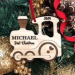Personalized Christmas Ornament, Baby's Christmas Ornament, Wood Train, Custom Engraved Wooden Ornament, Personalized Baby's Christmas Gift 2