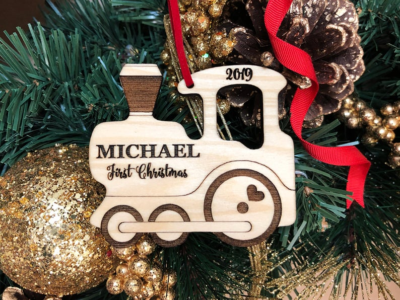 Personalized Christmas Ornament, Baby's Christmas Ornament, Wood Train, Custom Engraved Wooden Ornament, Personalized Baby's Christmas Gift 4