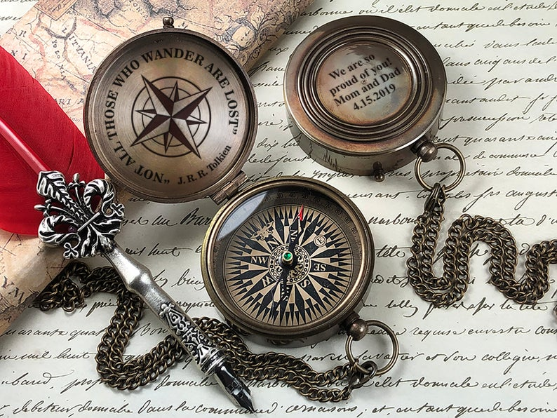 Personalized Compass - Engraved Compass - Gift for Groom - Working Compass - Anniversary - Fathers Day - Wedding - Engagement - Gift 15