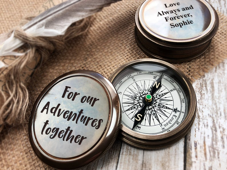 Personalized Pocket Compass Inspirational Quotes Engraved on a Brass Compass Gift for Graduation Anniversary Baptism Retirement Christmas 6