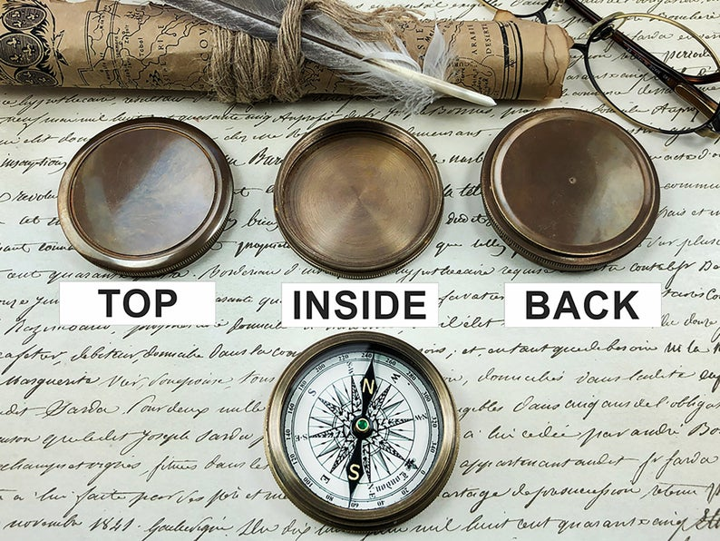 Personalized Pocket Compass Inspirational Quotes Engraved on a Brass Compass Gift for Graduation Anniversary Baptism Retirement Christmas 11