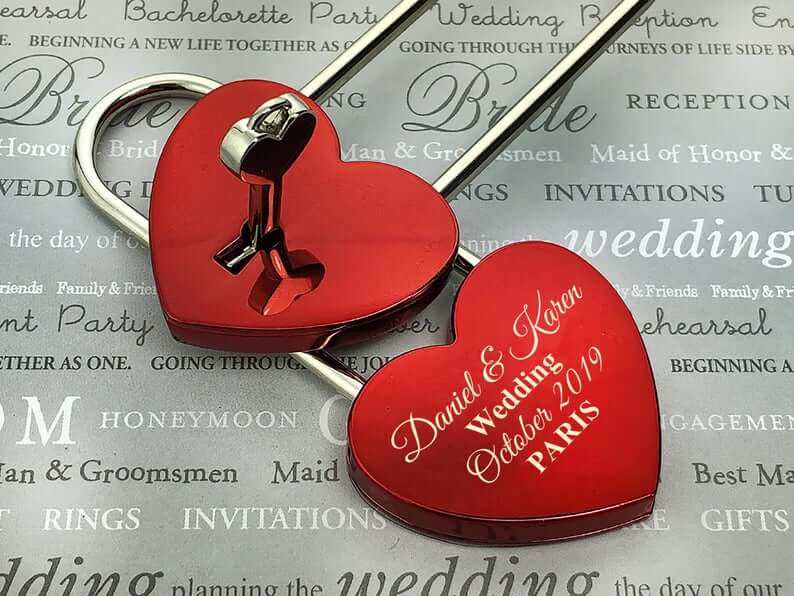 Personalized Love Lock - Red Heart Lock with Key - Personalized Heart Love Padlock - Engraved Love Lock - Engagement Gift 6