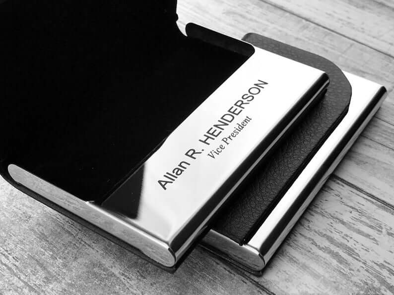Personalized Business Card Holder - Business Card Case - Credit Card Holder - Groomsman Gift - Corporate Gift 3