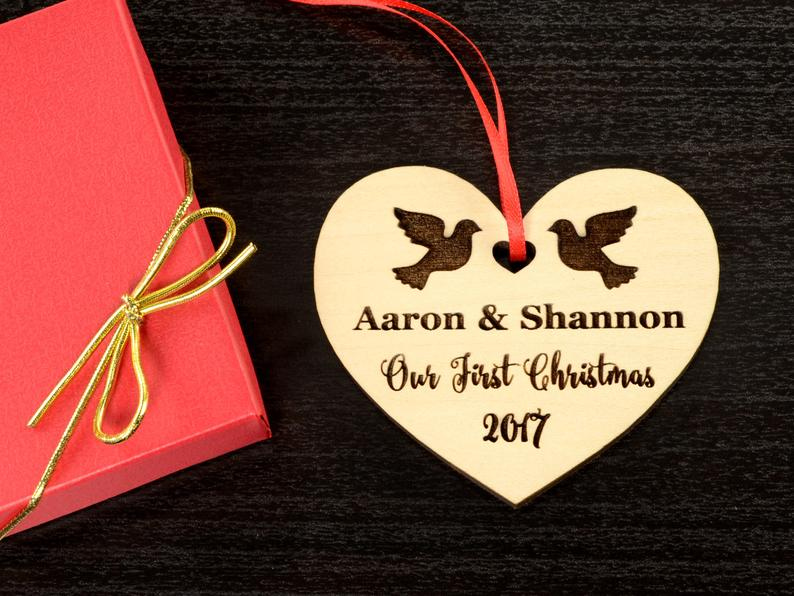 Personalized Wedding Gift, First Christmas Ornament, Just Married Wedding Gift for Couple, Wedding Ornament Ornaments Personalized Newlywed 9