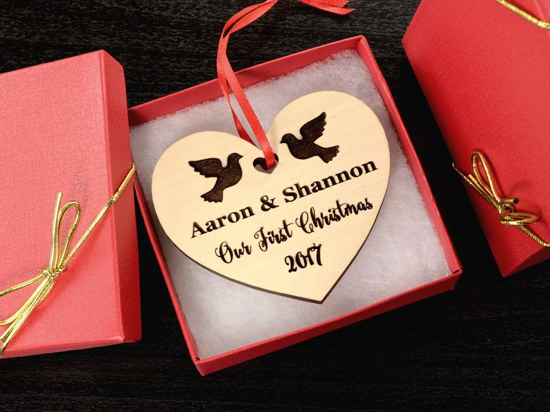 Personalized Wedding Gift, First Christmas Ornament, Just Married Wedding Gift for Couple, Wedding Ornament Ornaments Personalized Newlywed 11