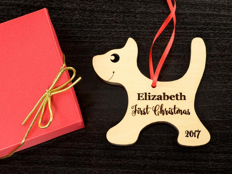 Baby's First Christmas Ornament, Engraved Kitten Christmas Ornament, Baby's Personalized Christmas Gift, Christmas Personalized Ornament 9