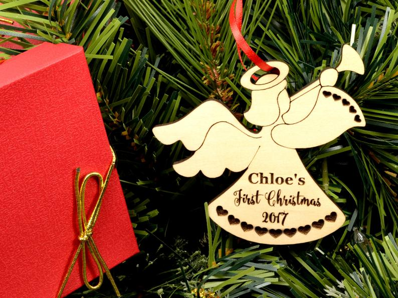 Baby First Christmas Ornament - Personalized Angel Ornament - Engraved Wooden Christmas Ornament, Baby's First Ornament, Christmas Baby Gift 7