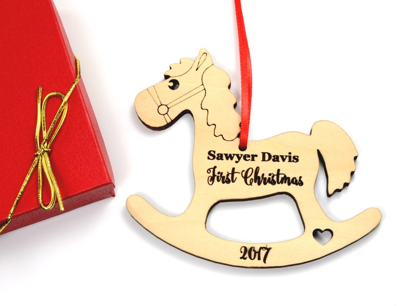 Baby First Christmas Ornament, Baby First Christmas Gift, Personalized Christmas Ornament, Rocking Horse Ornament, Custom Engraved Ornament 9