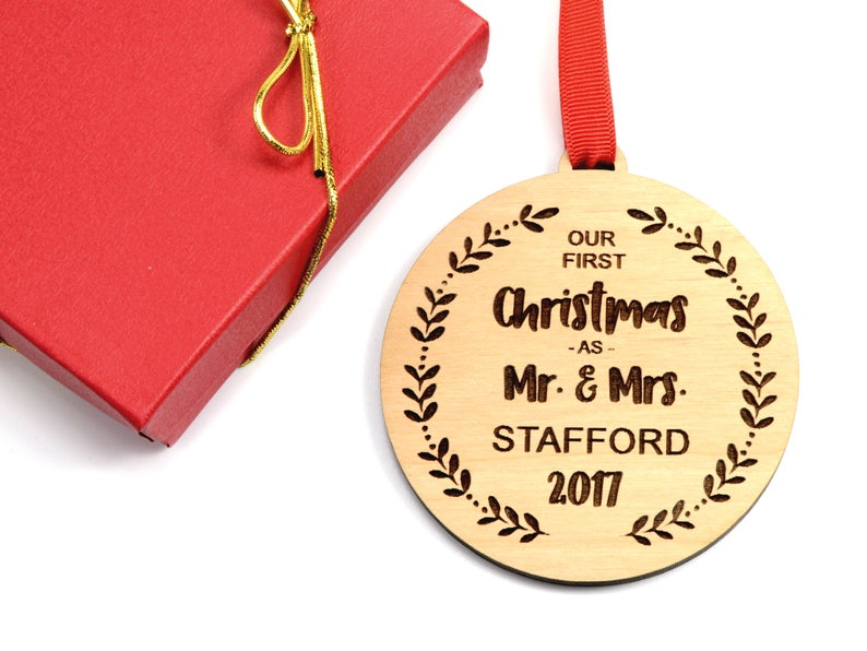 Our First Christmas Ornament, Personalized Christmas Ornaments Wood, Wedding Gift Christmas Ornament, Newlywed Christmas Gift, Personalized 7
