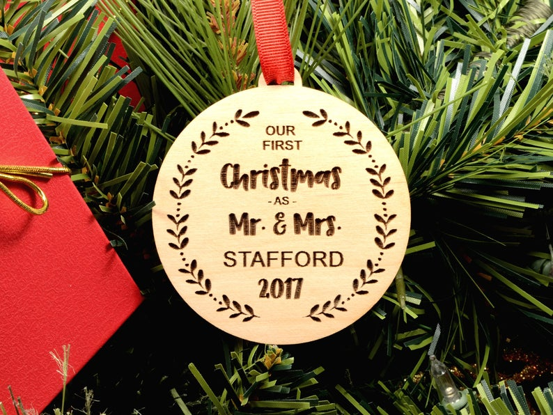Our First Christmas Ornament, Personalized Christmas Ornaments Wood, Wedding Gift Christmas Ornament, Newlywed Christmas Gift, Personalized 11