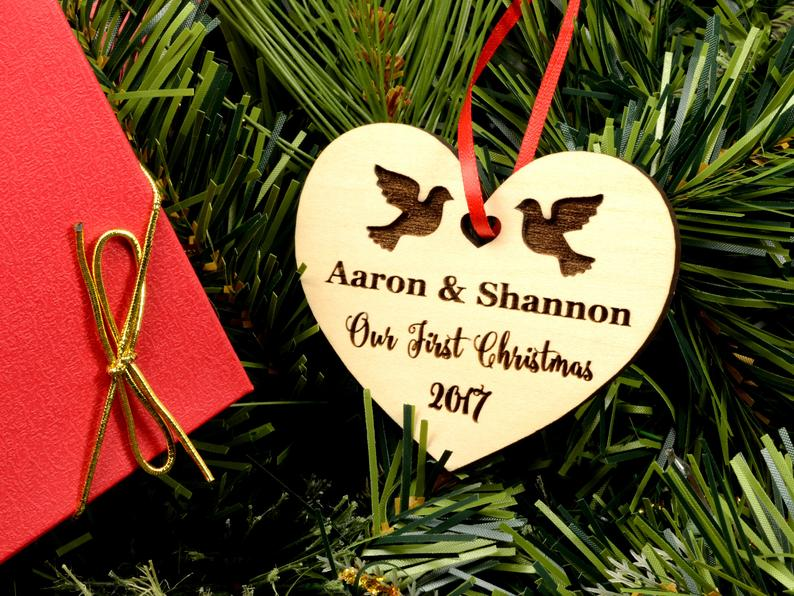Personalized Wedding Gift, First Christmas Ornament, Just Married Wedding Gift for Couple, Wedding Ornament Ornaments Personalized Newlywed 13