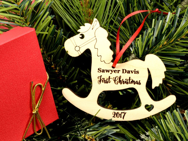 Baby First Christmas Ornament, Baby First Christmas Gift, Personalized Christmas Ornament, Rocking Horse Ornament, Custom Engraved Ornament 11
