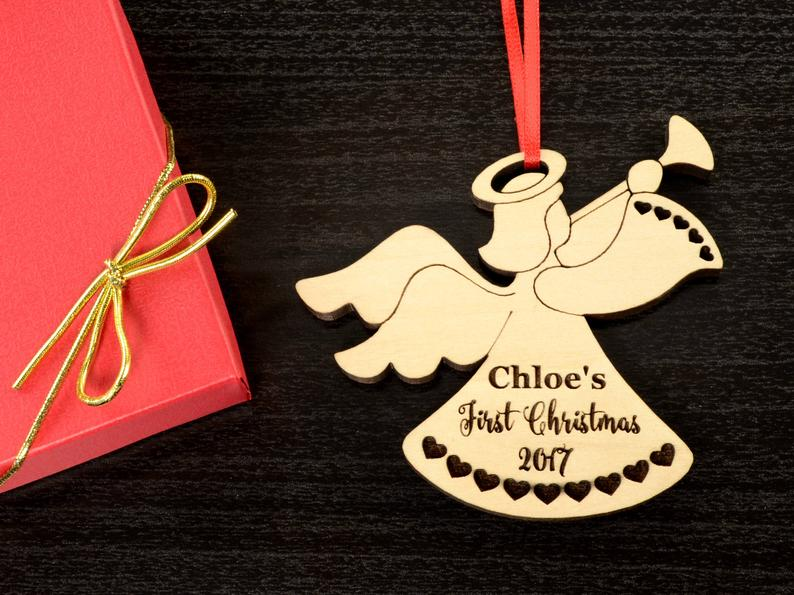 Baby First Christmas Ornament - Personalized Angel Ornament - Engraved Wooden Christmas Ornament, Baby's First Ornament, Christmas Baby Gift 11