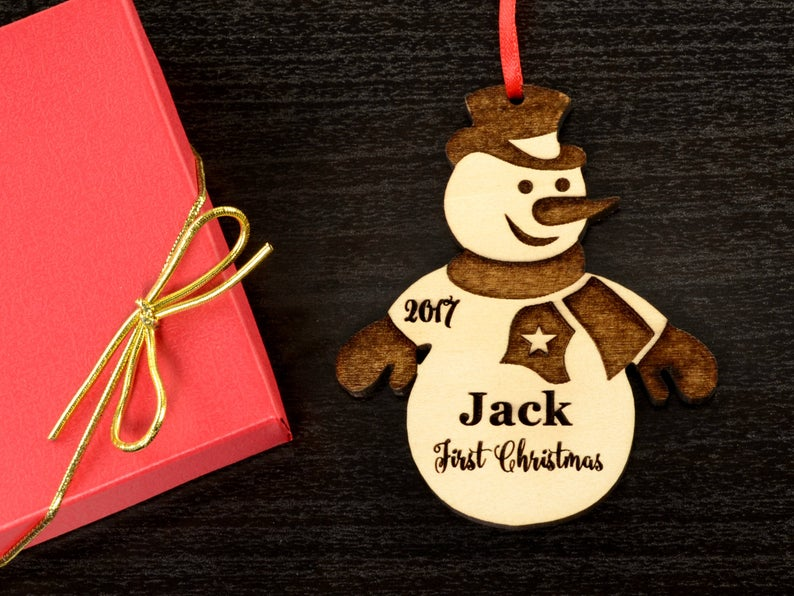 Baby's First Christmas Ornament, Personalized, Baby's First Christmas Gift, Baby's 1st Christmas, Snowman, Engraved Christmas Gift Ornament 7