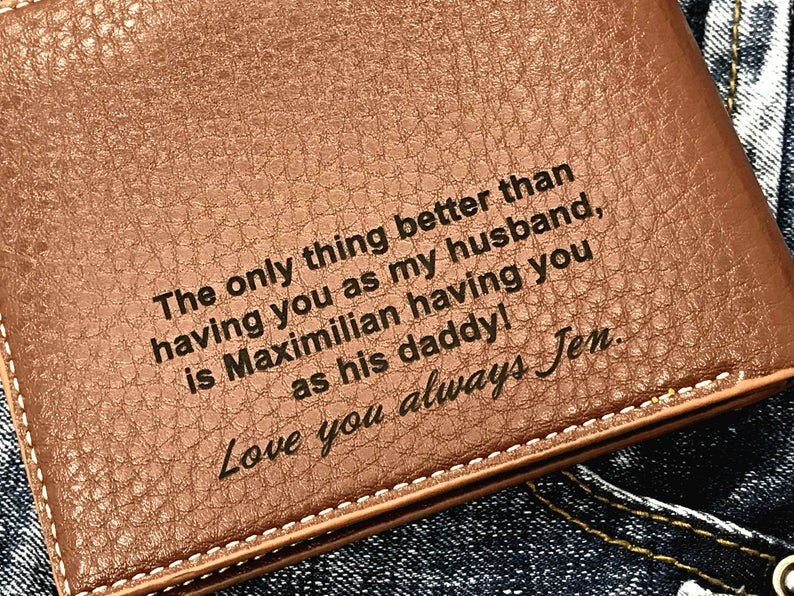 Personalized Men's Wallet - Anniversary Gift - Husband Gift, Men's Gift - Wallet for Men - Gift for Husband - Wedding Gift 19