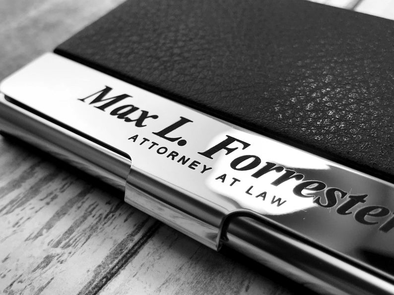 Business Cardholder - Personalized - Engraved Leather Business Card Case - Business Cardholder - Credit Card Holder - Credit Card Wallet 7