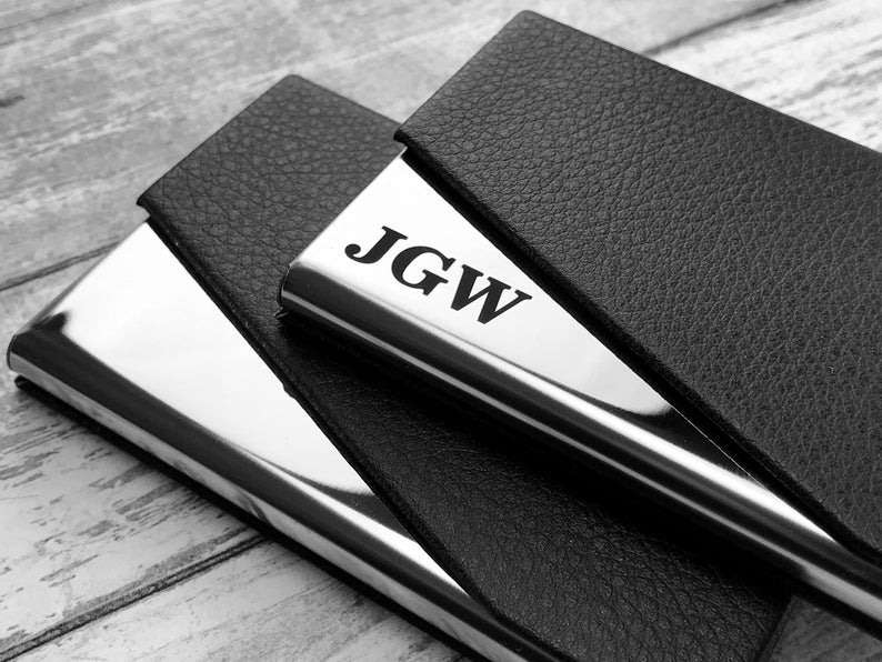 Personalized Cardholder - Business Card Case - Business Cardholder for Desk, Credit Cardholder, Credit Card Wallet, Gift for Boyfriend, Gift 9