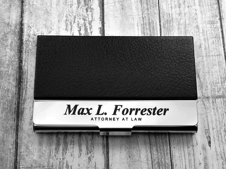 Business Cardholder - Personalized - Engraved Leather Business Card Case - Business Cardholder - Credit Card Holder - Credit Card Wallet 5