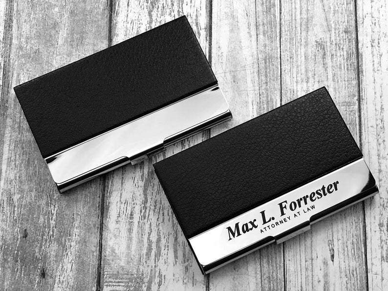 Business Cardholder - Personalized - Engraved Leather Business Card Case - Business Cardholder - Credit Card Holder - Credit Card Wallet 15