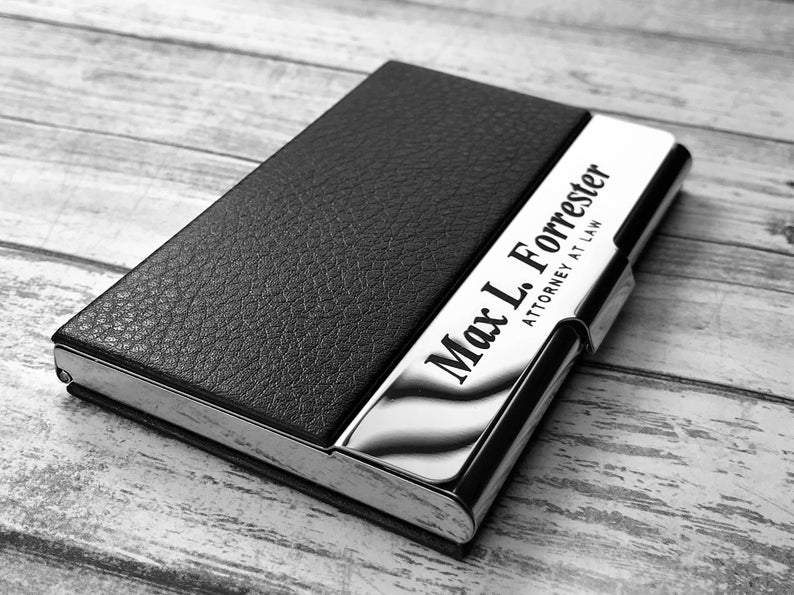 Business Cardholder - Personalized - Engraved Leather Business Card Case - Business Cardholder - Credit Card Holder - Credit Card Wallet 17