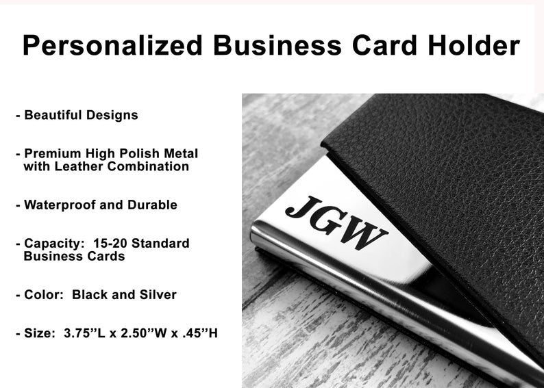 Personalized Cardholder - Business Card Case - Business Cardholder for Desk, Credit Cardholder, Credit Card Wallet, Gift for Boyfriend, Gift 17