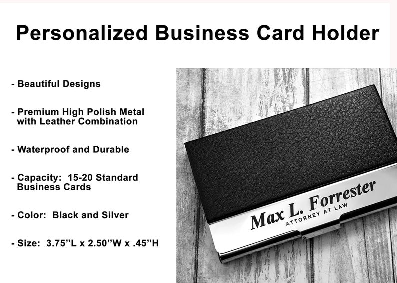Business Cardholder - Personalized - Engraved Leather Business Card Case - Business Cardholder - Credit Card Holder - Credit Card Wallet 19