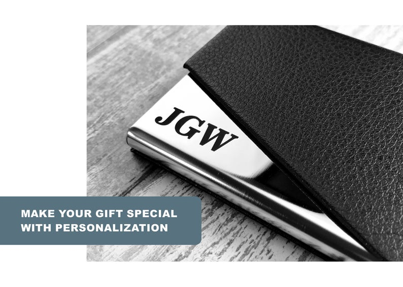 Personalized Cardholder - Business Card Case - Business Cardholder for Desk, Credit Cardholder, Credit Card Wallet, Gift for Boyfriend, Gift 21