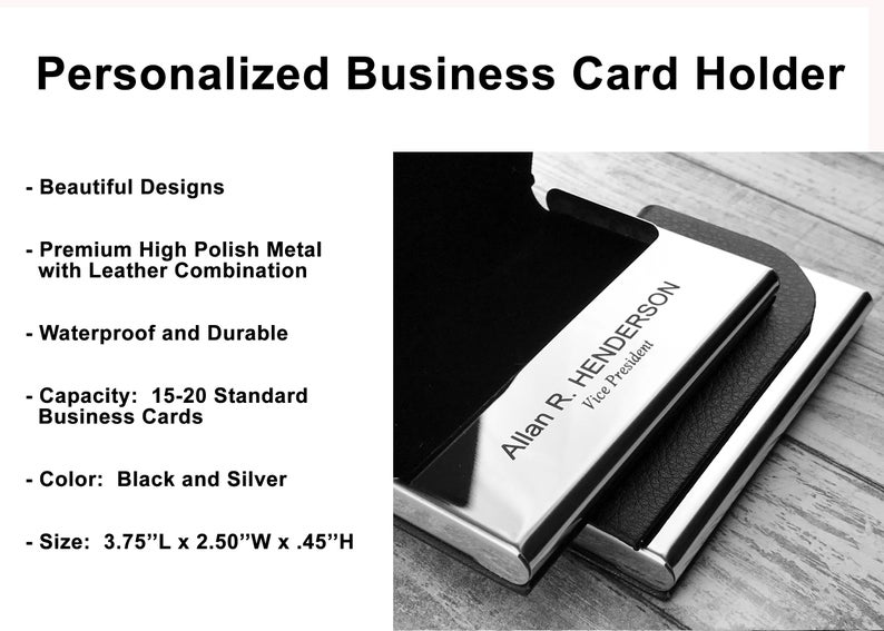 Personalized Business Card Holder - Business Card Case - Credit Card Holder - Groomsman Gift - Corporate Gift 19