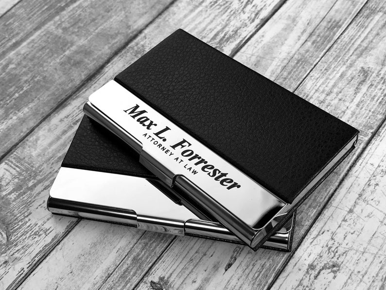 Business Cardholder - Personalized - Engraved Leather Business Card Case - Business Cardholder - Credit Card Holder - Credit Card Wallet 21