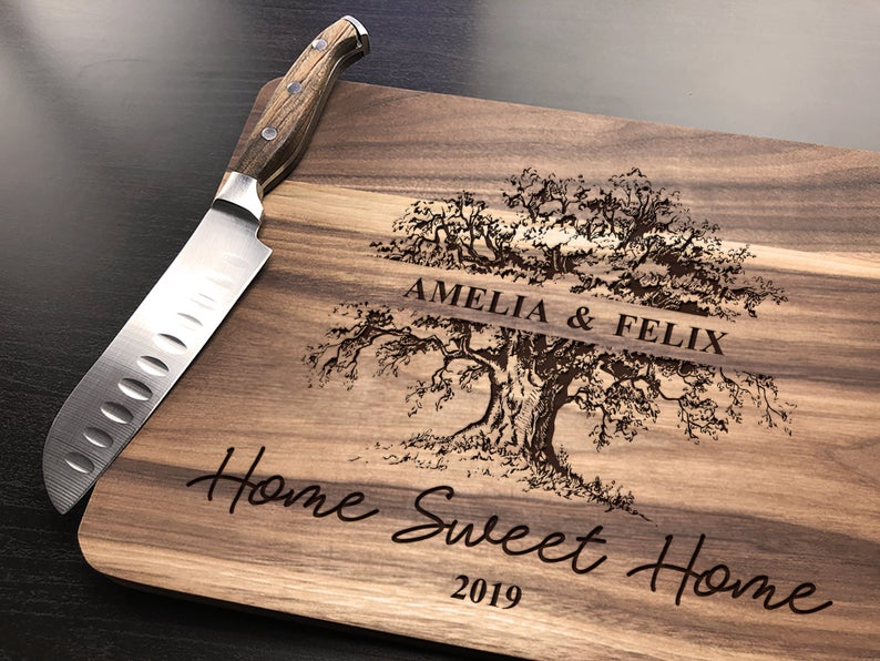 Personalized Cutting Board, Housewarming Gift, Home Sweet Home Gifts, Our First Home Couple Cutting Board Wood Cutting Board Custom Engraved 6