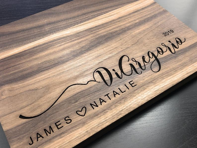 Personalized Engraved Cutting Board James and Natalie