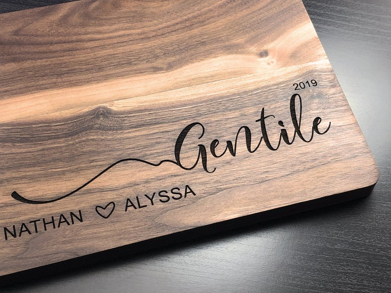 Personalized Wedding Gift for Couple, Cutting Board, Wedding Anniversary, Custom Engraved Walnut Cutting Board, Engagement Gift, Christmas 6