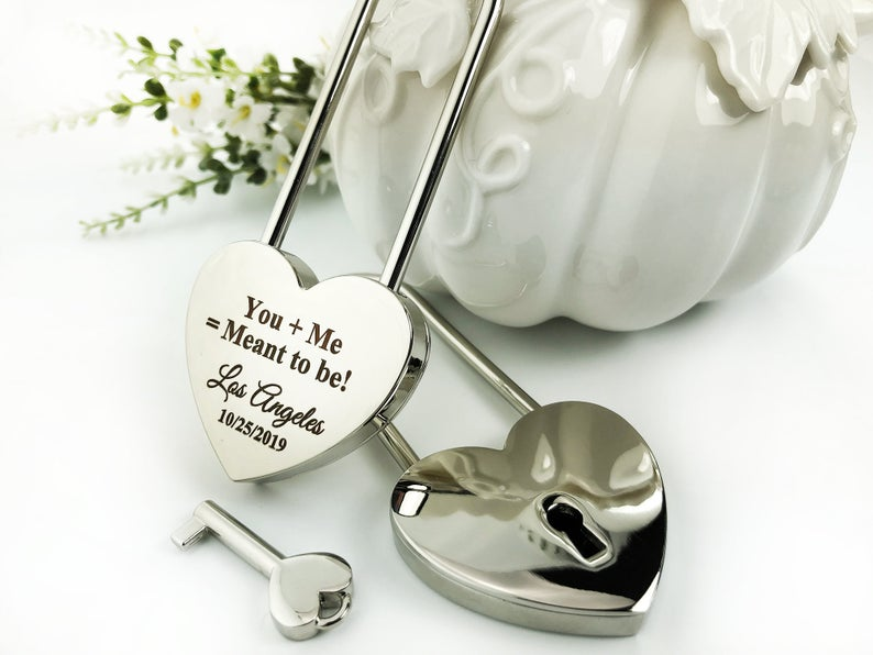 Personalized Silver Heart Love Padlock With Key, Love Lock, Heart Lock, Custom Lock, Engraved Love Lock, Silver Padlock, Love Wedding Gifts 11