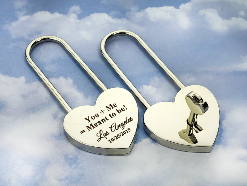 Personalized Silver Heart Love Padlock With Key, Love Lock, Heart Lock, Custom Lock, Engraved Love Lock, Silver Padlock, Love Wedding Gifts 13